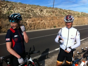 I think my incredulous expression is because I've realised that now it's time to go all the way back down on the bike too... Daz may be looking happy for the same reason?